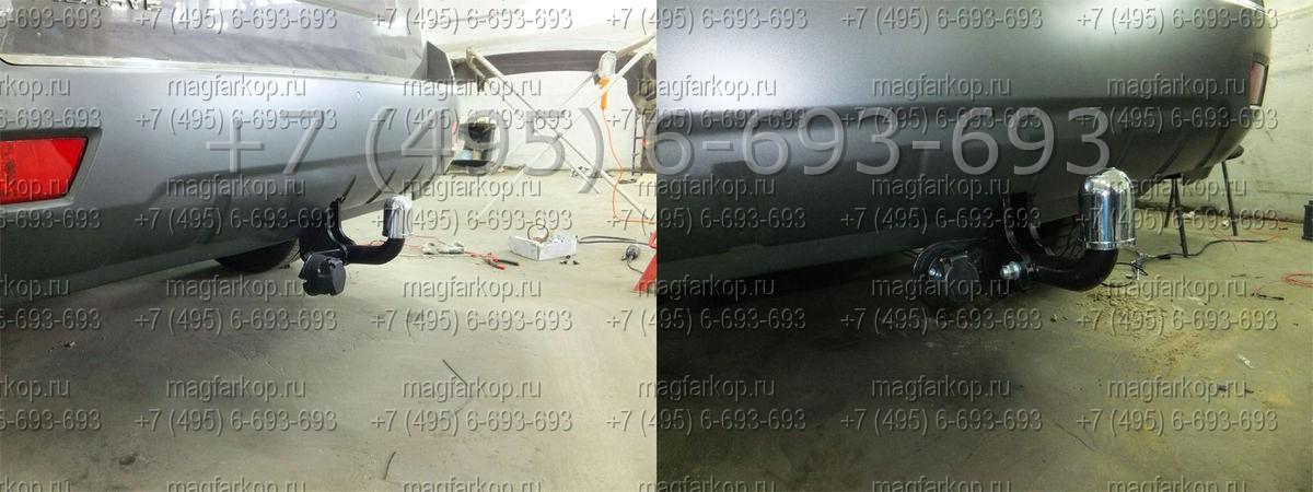 Фаркоп Kia MOHAVE 10/09- Крюк разборный на двух болтах, закрытая балка Тип шара: A вырез в бампере: да блок...