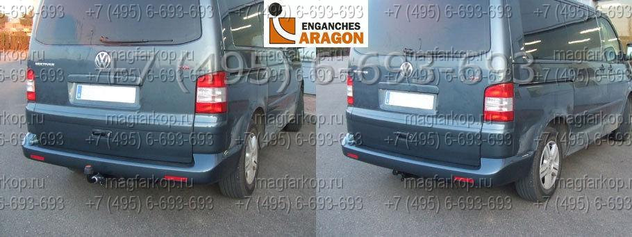 ТСУ на VW Caravella T5 2003- VW Transporter T5 2003- // съемный горизонтальный шар (тип F) .
